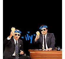 Joe Biden and Jimmy Fallon Eating Ice Cream  Photographic Print