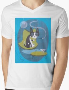 Boston Terrier At Home Mens V-Neck T-Shirt
