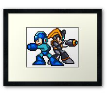 Megaman And Bass Framed Print