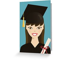 Brunette Graduation Girl Greeting Card