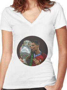 cristiano ronaldo in hole Women's Fitted V-Neck T-Shirt