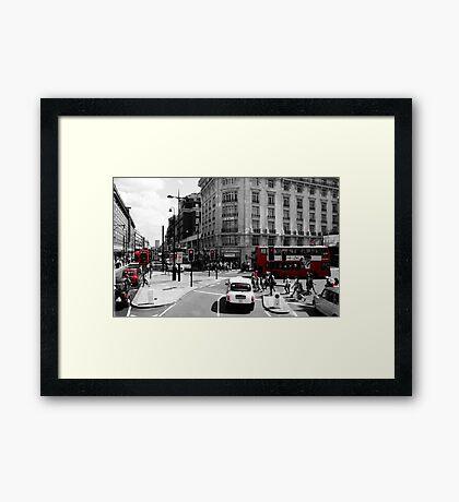 London - Black, White and Red Framed Print