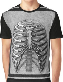 Black and White Skeleton Rib Cage Graphic T-Shirt
