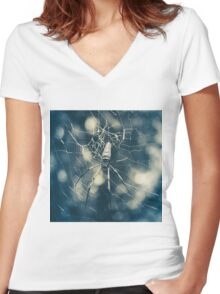 Large tropical spider in the web Women's Fitted V-Neck T-Shirt