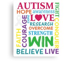 Autism Awareness Walk Slogan T-shirt Canvas Print