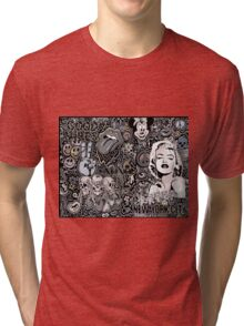 Marilyn doodle warm and cool grays Tri-blend T-Shirt
