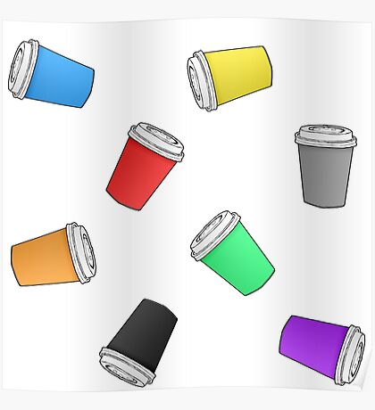 Colourful Cascading Coffee Cups Poster