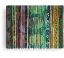 Dark Folcloristic Pattern With Vertical Stripes And Ovals Canvas Print