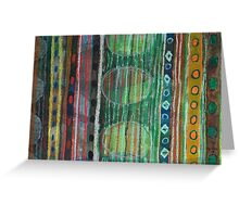 Dark Folcloristic Pattern With Vertical Stripes And Ovals Greeting Card