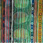 Dark Folcloristic Pattern With Vertical Stripes And Ovals by Heidi Capitaine