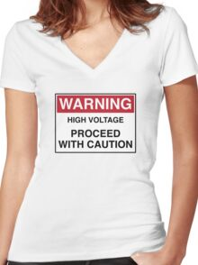 WARNING - PROCEED WITH CAUTION Women's Fitted V-Neck T-Shirt