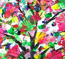 Happy Tree Abstract by Jan Marvin by Jan Marvin