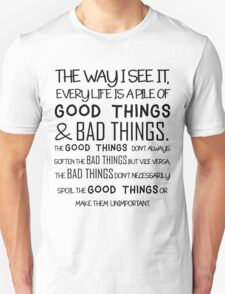 """""""Good Things & Bad Things"""" - 11th Doctor Quote T-Shirt"""