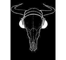 Skull and Phones (whiteline) Photographic Print