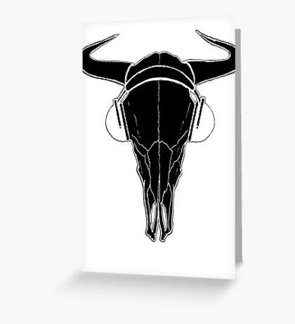 Skull and Phones (blackline) Greeting Card