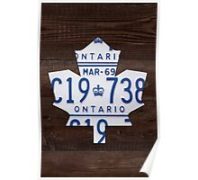 Toronto Maple Leafs Wood License Plate Art - Dark Stain Poster