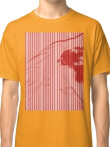 Red stripes on grunge textured pink background Classic T-Shirt