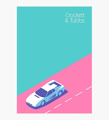 Miami Vice Crockett & Tubbs Ferrari (Aqua) Photographic Print