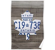 Toronto Maple Leafs Wood Plank License Plate Art - Grey Poster