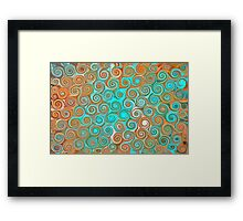 Turquoise And Orange Abstract Swirls Framed Print