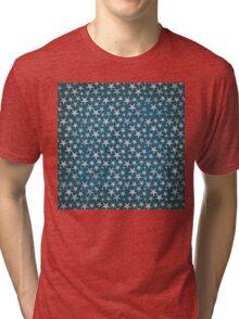 White stars on grunge textured blue background Tri-blend T-Shirt