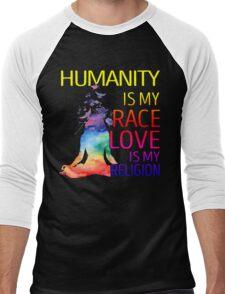 Yoga zen humanity is my race love is my religion Men's Baseball ¾ T-Shirt