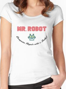 Computer Repair with a Smile - Mr Robot Women's Fitted Scoop T-Shirt