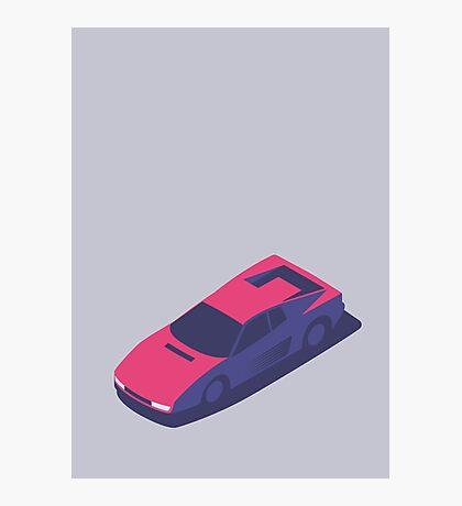 Ferrari Testarossa Isometric (Small Grey) Photographic Print