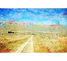 Grunge country road through meadows Photographic Print