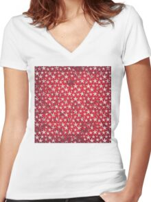 White stars on grunge textured red background Women's Fitted V-Neck T-Shirt