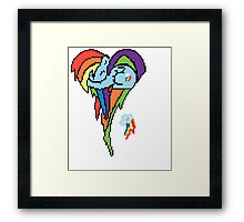 Rainbow Dash Pixel Art Heart Framed Print