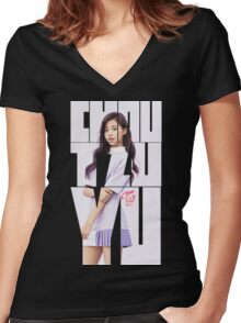 TWICE 'TT' Tzuyu Typography Women's Fitted V-Neck T-Shirt