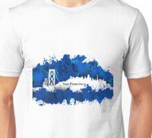 Stain San Francisco skyline. Blue Unisex T-Shirt