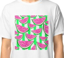 Watermelon Crush on green stripes Classic T-Shirt