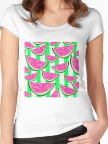 Watermelon Crush on green stripes Women's Fitted Scoop T-Shirt