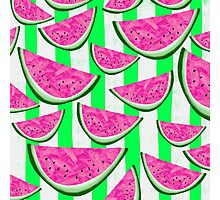 Watermelon Crush on green stripes Photographic Print