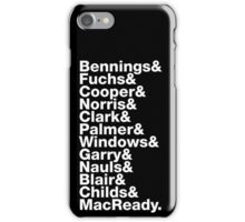 The Thing Movie Death Order Helvetica Jetset horror science fiction fan shirt iPhone Case/Skin