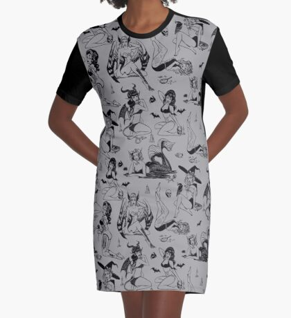 Monster Girl Pinups - Gray Graphic T-Shirt Dress