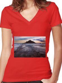 St. Michael's Mount, Cornwall, UK ~ Atlantic Coast Women's Fitted V-Neck T-Shirt