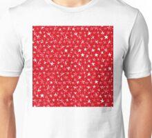 Messy White stars on bold red background Unisex T-Shirt