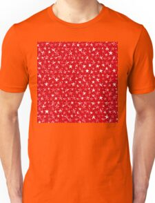 Messy White stars on bold red background Unisex T-Shirt