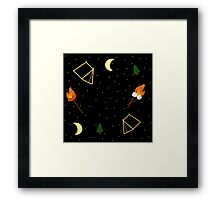 Campfire : Camping Outdoors Marshmallow Tent Design Framed Print