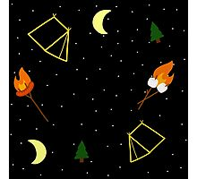 Campfire : Camping Outdoors Marshmallow Tent Design Photographic Print