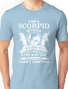 I am a scorpio woman i was born with my heart on my sleeve a fire in my soul and a mouth Chiffon Tops Unisex T-Shirt