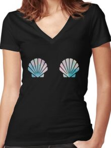 Mermaid SeaShell Bra Women's Fitted V-Neck T-Shirt