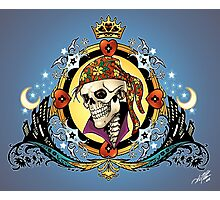 Pirate King Skull with hearts and a crown by Al Rio Photographic Print