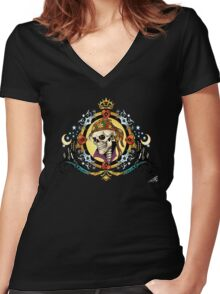 Pirate King Skull with hearts and a crown by Al Rio Women's Fitted V-Neck T-Shirt