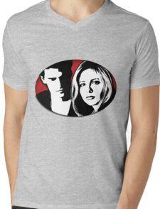 Buffy/Angel Motif Mens V-Neck T-Shirt