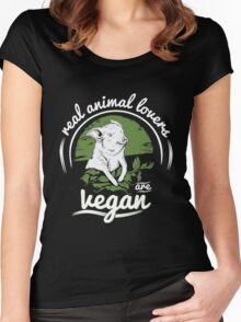 Vegan - Real Animal Lovers Are Vegan Women's Fitted Scoop T-Shirt