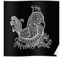 White Zentangle Chicken Poster